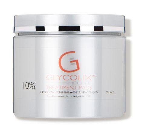 """Remove dirt while resurfacing skin using these <strong><a href=""""https://fave.co/2FbgK37"""" target=""""_blank"""" rel=""""noopener noreferrer"""">10% Glycolix Elite Treatment Pads</a></strong>. Glycolic acid and witch hazel work to slough away dead skin and purify pores, while vitamins A, C, E and Coenzyme Q10 nourish skin with antioxidants and moisture. <strong><a href=""""https://fave.co/2FbgK37"""" target=""""_blank"""" rel=""""noopener noreferrer"""">Find it for $33 at Dermstore.</a></strong>"""