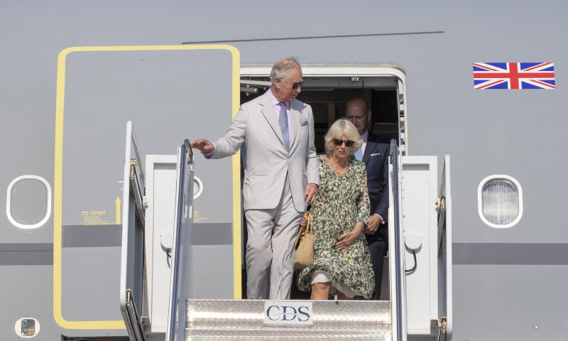 The Prince of Wales and the Duchess of Cornwall arrive at Owen Roberts International Airport, Cayman Islands.