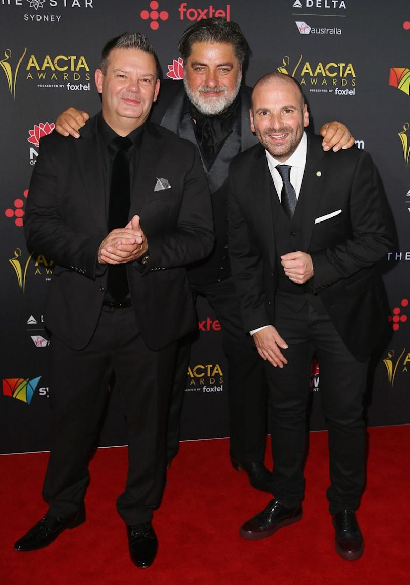 MasterChef judges Gary Mehigan, Matt Preston and George Calombaris appear at the 2017 AACTA Awards in Sydney. Source: Getty