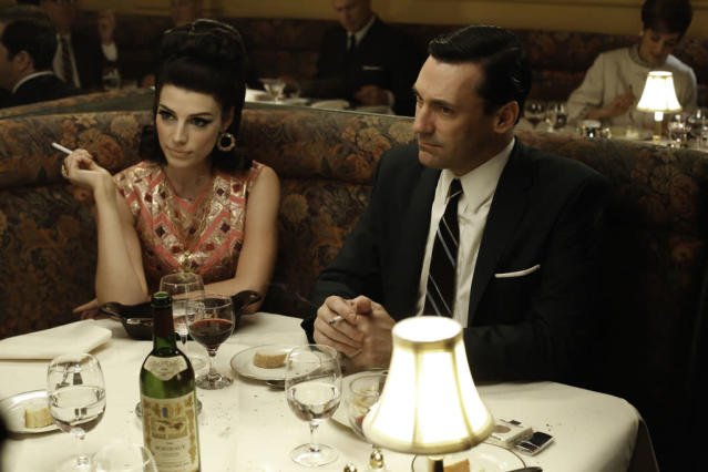 "Megan Draper (Jessica Pare) and Don Draper (Jon Hamm) in the ""Mad Men"" episode, ""To Have and to Hold."""