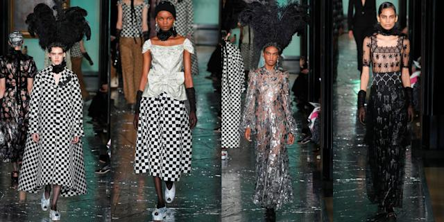 """<p>This season, Erdem Moralioglu debuted his fall 2020 collection at London's National Portrait Gallery. In line with the themed space, the designer drew inspiration for his collection from an upcoming photo exhibition featuring Cecil Beaton, who was an English fashion photographer. Erdem specifically looked to Beaton's portraits titled <em>Bright Young Things </em>for his fall 2020 creations. (The <em>Bright Young Things </em>exhibit will showcase high society life during the '20s and '30s.) You'll be able to spot the style parallels from the photos to the Erdem fall looks through the designer's use of glitter, art deco-inspired shapes, feathers, and beaded dresses perfect for any upcoming parties. Erdem took us back to the roaring '20s while still keeping the fashion fresh and modern. Check out all the looks, ahead.<br></p><p>•••</p><p><em>For more stories like this, including celebrity news, beauty and fashion advice, savvy political commentary, and fascinating features, sign up for the </em>Marie Claire<em> newsletter (<a href=""""https://link.marieclaire.com/join/3oa/mar-newsletter?authId=F0CC0C27-80DA-4734-ABDF-E4115B84A56B&maj=WNL&min=ARTICLES"""" rel=""""nofollow noopener"""" target=""""_blank"""" data-ylk=""""slk:subscribe here"""" class=""""link rapid-noclick-resp"""">subscribe here</a>)</em></p>"""