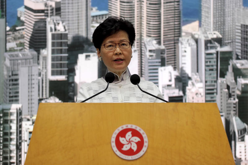 Hong Kong's Chief Executive Carrie Lam speaks at a press conference in Hong Kong Saturday, June 15, 2019. Lam said she will suspend a proposed extradition bill indefinitely in response to widespread public unhappiness over the measure, which would enable authorities to send some suspects to stand trial in mainland courts. (AP Photo/Kin Cheung)