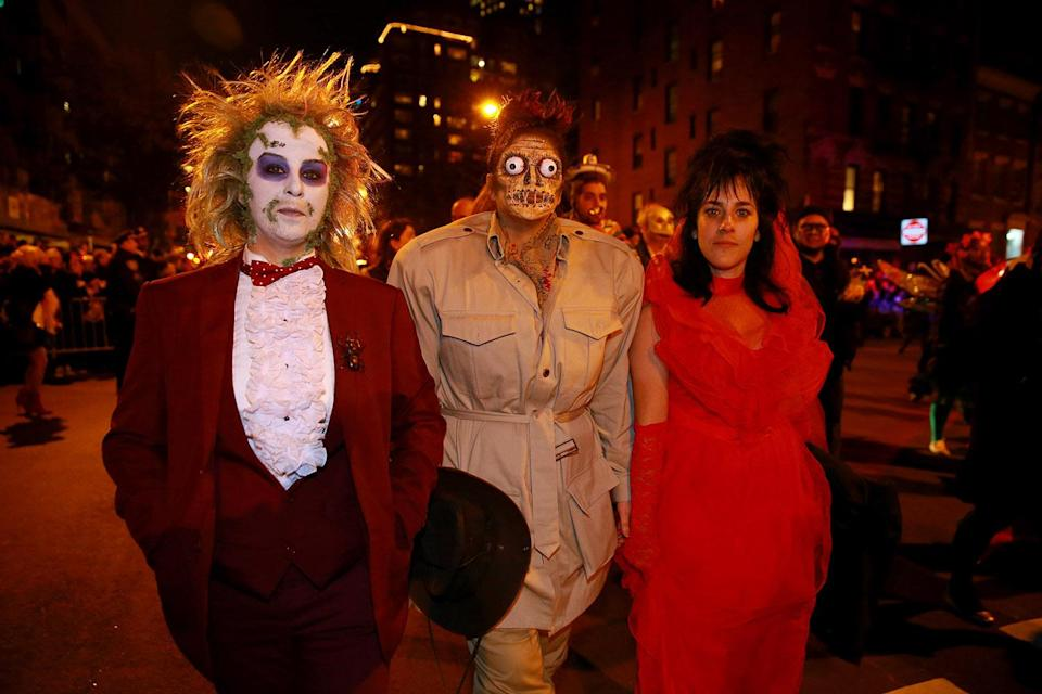 <p>Beetlejuice was a popular costume at the 44th annual Village Halloween Parade in New York City on Oct. 31, 2017. (Photo: Gordon Donovan/Yahoo News) </p>