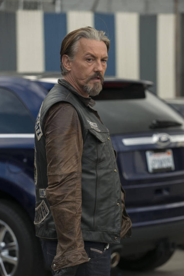 "ommy Flanagan as Filip 'Chibs' Telford in the ""Sons of Anarchy"" episode, ""J'ai Obtenu Cette."""