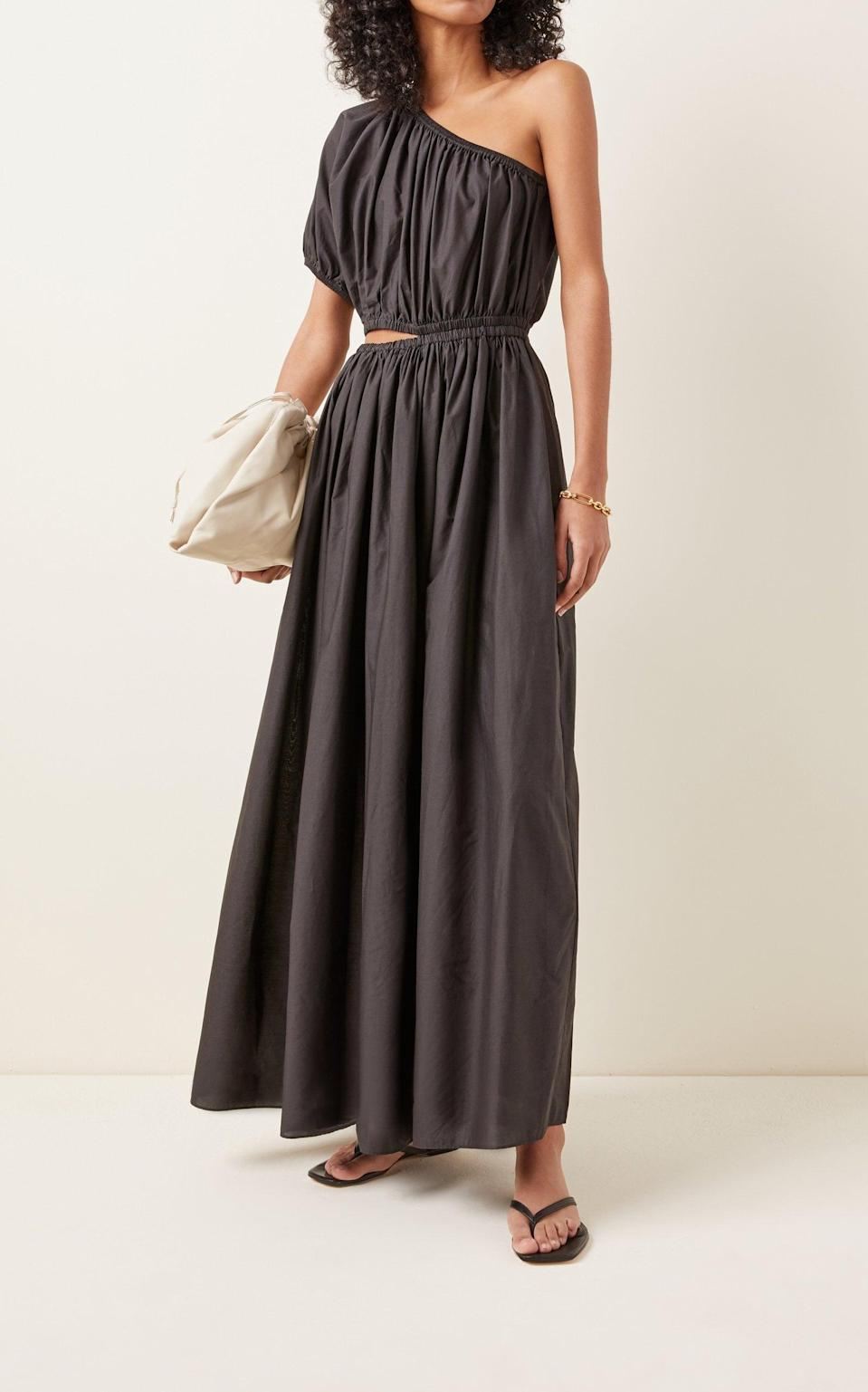 <p>The cutout on this <span>Matteau Cocoon Cotton Voile One-Shoulder Maxi Dress</span> ($520) makes the silhouette more modern.</p>