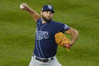 Tampa Bay Rays' Michael Wacha delivers a pitch during the first inning of the team's baseball game against the New York Yankees on Friday, April 16, 2021, in New York. (AP Photo/Frank Franklin II)