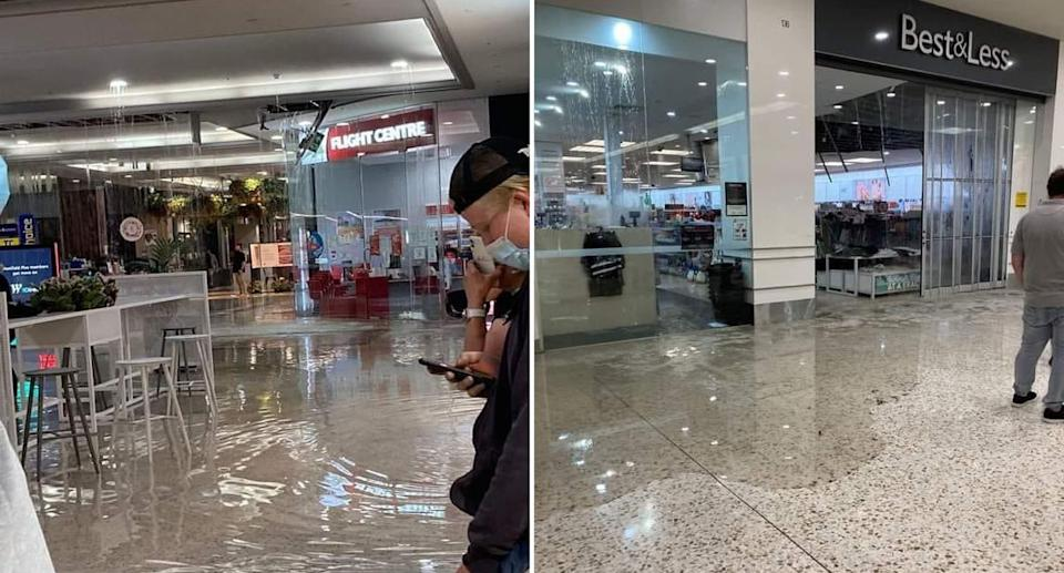 Photos of flooded floors at the shopping centre after the roof collapsed in heavy rain. Source: Twitter/mblabezza