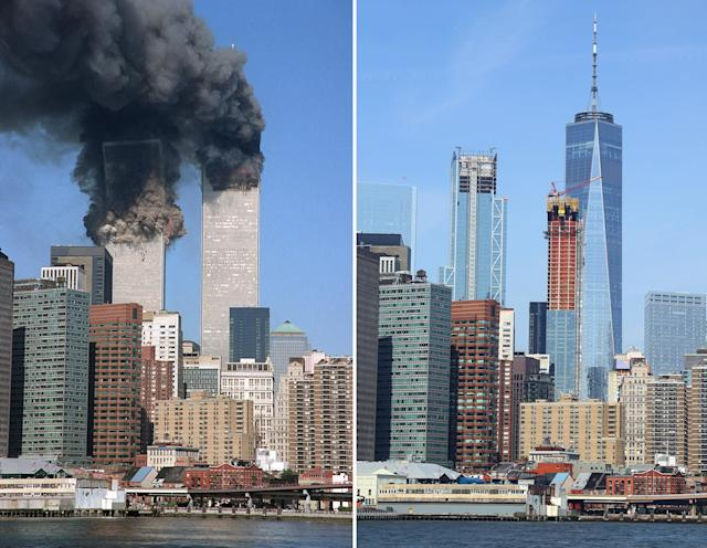 <p>The south tower begins to collapse as smoke billows from both towers of the World Trade Center on Sept. 11, 2001, left; New York City's ever-changing skyline as seen from across the East River in Brooklyn on Sept. 4, 2017. (Photos: Jim Collins/AP – Gordon Donovan/Yahoo News) </p>