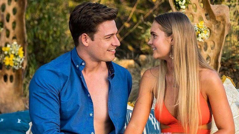 Matt Agnew and Chelsie McLeod look at each other in a scene from The Bachelor Australia 2019.
