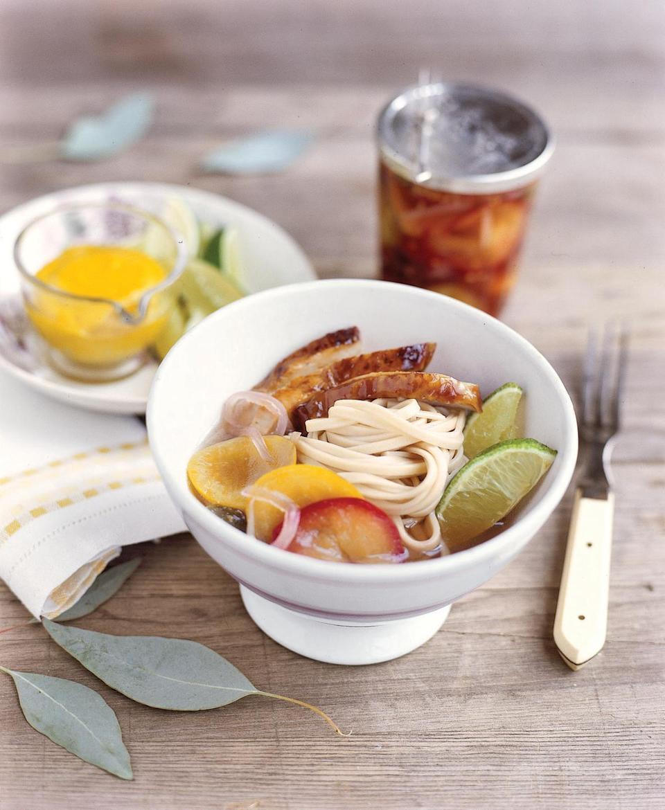 """<p>Flavorful noodles with Asian inspiration makes an unexpected lunch side dish. </p><p><strong><a href=""""https://www.countryliving.com/food-drinks/recipes/a853/cold-noodle-salad-pickled-plums-46/"""" rel=""""nofollow noopener"""" target=""""_blank"""" data-ylk=""""slk:Get the recipe."""" class=""""link rapid-noclick-resp"""">Get the recipe.</a></strong></p>"""