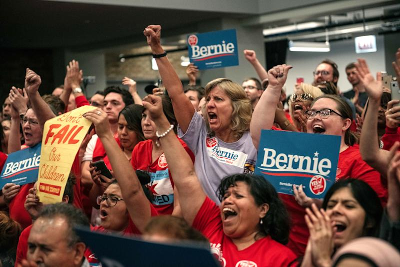 Supporters cheer for Democratic presidential candidate Sen. Bernie Sanders (I-VT) speak at a rally in support of the Chicago Teachers Union ahead of an upcoming potential strike on September 24, 2019 in Chicago. (Photo: Scott Heins/Getty Images)