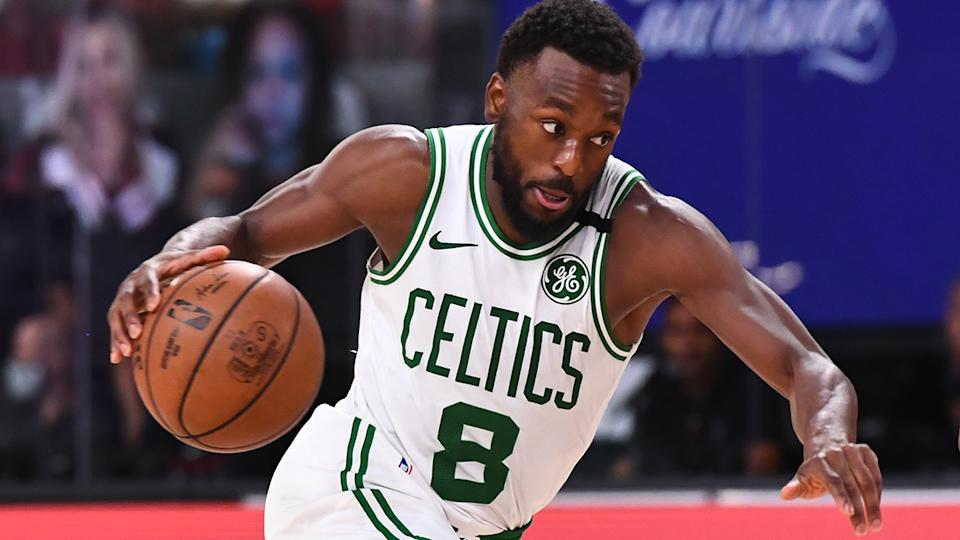 Kemba Walker is pictured playing for the Boston Celtics.