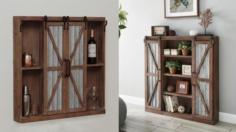 This sideboard-style cabinet lets you hide things while showing others off.