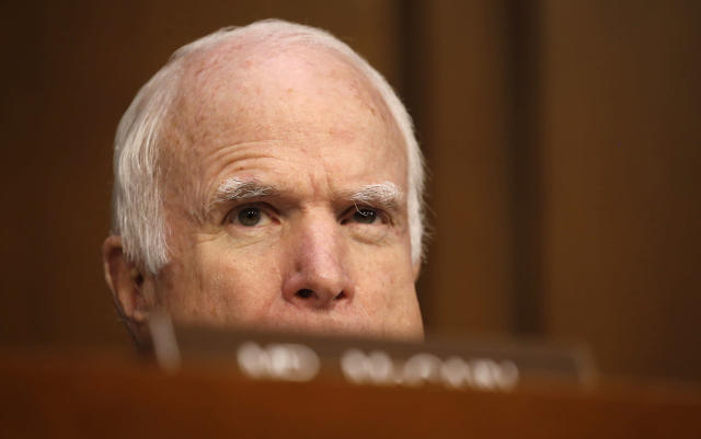 <p>Sen. John McCain (R-AZ), who is not on the committee, watches as former FBI Director James Comey testifies before a Senate Intelligence Committee hearing on Russia's alleged interference in the 2016 U.S. presidential election on Capitol Hill in Washington, U.S., June 8, 2017. (Photo: Jonathan Ernst/Reuters) </p>