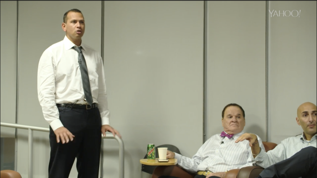 A-Rod, Pete Rose and Fox Sports' vice president Bardia Shah-Rais during production. (Yahoo Sports)
