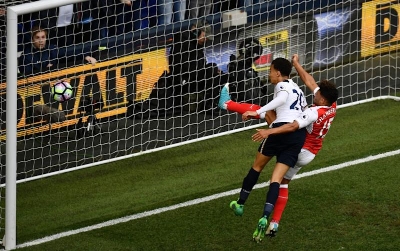 Alli heads wide from close range in the first half - Credit: Dan Mullan/Getty Images