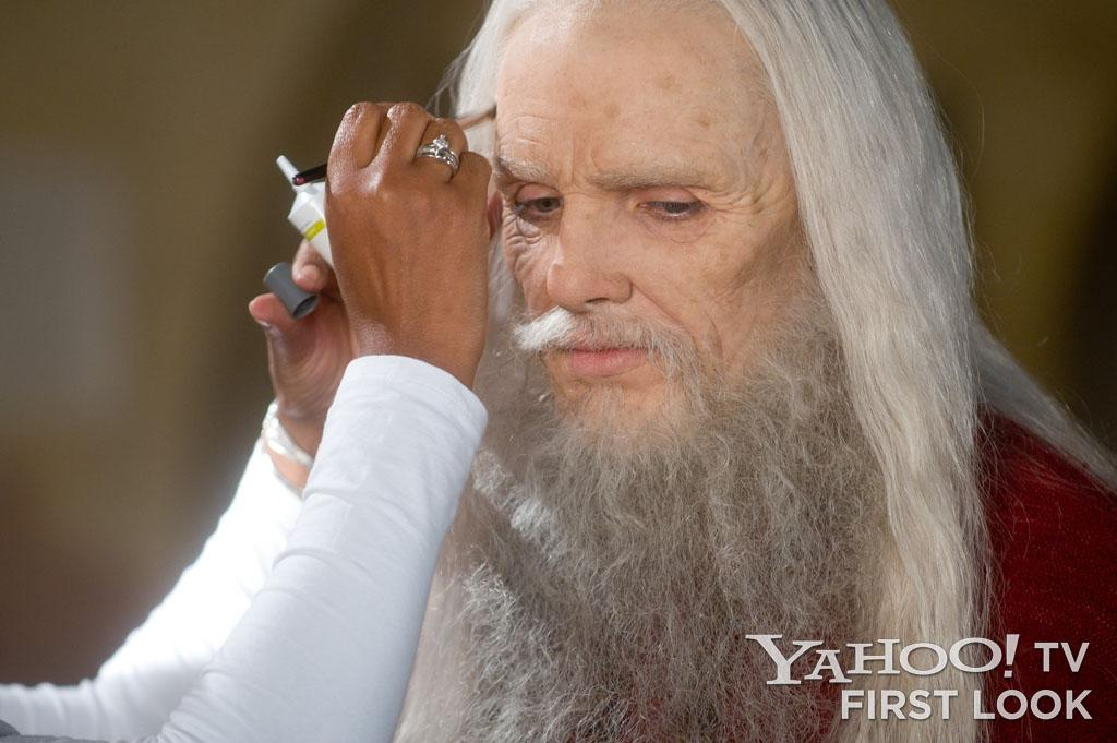 Colin Morgan endured hours in the makeup chair to become the elderly Emrys, but the results led to one of the series' most unique and beloved characters, a cranky, headstrong warlock who was the polar opposite of the more quiet, reverential Merlin.