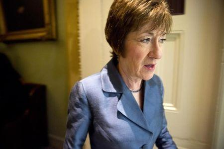 Senator Collins speaks to reporters on Capitol Hill in Washington