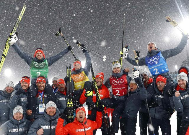 Nordic Combined Events - Pyeongchang 2018 Winter Olympics - Men's Team 4 x 5 km Final - Alpensia Cross-Country Skiing Centre - Pyeongchang, South Korea - February 22, 2018 - The German team celebrate their win. REUTERS/Kai Pfaffenbach