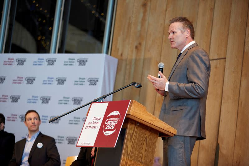 FILE PHOTO: Governor of Alaska, Mike Dunleavy, speaks at the 2020 Census kickoff held at the Alaska Native Heritage Center in Anchorage