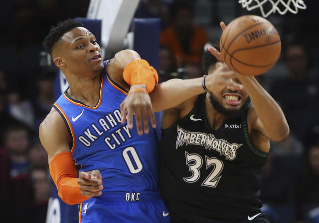 Oklahoma City Thunder's Russell Westbrook had harsh words for Karl-Anthony Towns during a game in Minneapolis. (AP Photo/Jim Mone)