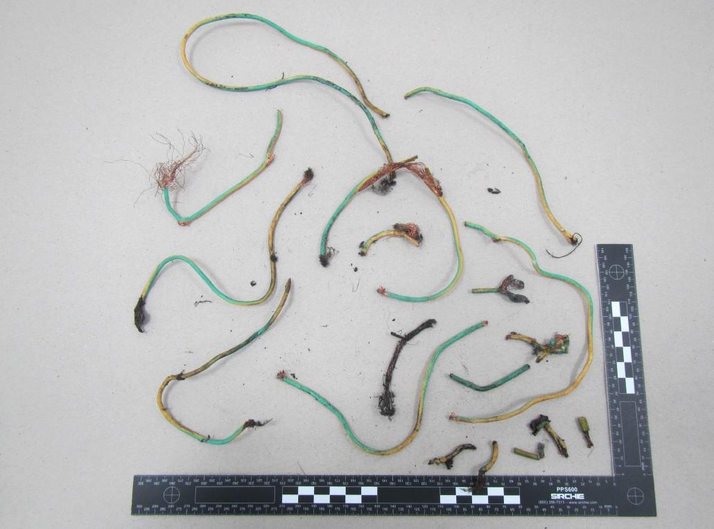 Undated handout photo issued by Greater Manchester Police of sections of wire, allegedly used in the homemade device, recovered from the scene of the Manchester Arena terror attack, which was shown at the Old Bailey in the court case of Hashem Abedi, brother of the Manchester Arena suicide bomber, who is accused of mass murder.