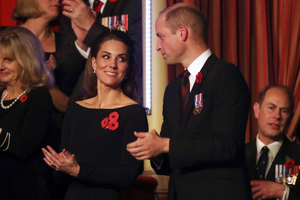 Britain's Catherine, Duchess of Cambridge, (L) and Britain's Prince William, Duke of Cambridge, (R) attend the annual Royal British Legion Festival of Remembrance at the Royal Albert Hall in London on November 9, 2019. (Photo by Chris Jackson / POOL / AFP) (Photo by CHRIS JACKSON/POOL/AFP via Getty Images)