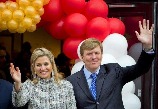 Princess Maxima with Prince Willem-Alexander at an event in Enschede on Friday. Maxima has admitted in the past that she was saddened by her parents' absence from her wedding