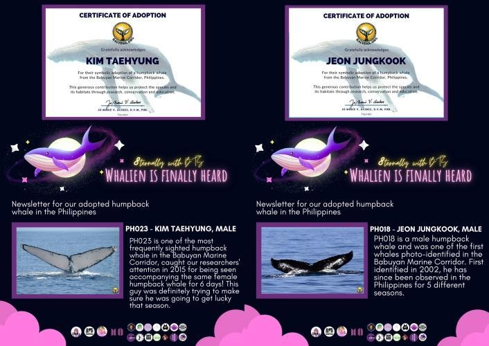Kim Taehyung's whale is sponsored by uniVerse PH and Taehgers PH; Jeon Jungkook's whale is sponsored by Jungkook Daily PH and Fairies Bundle PH