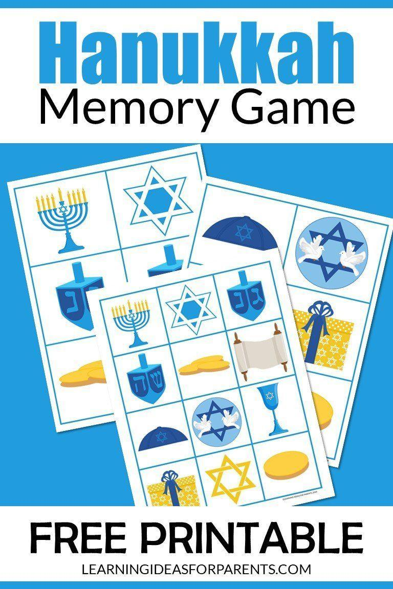 "<p>This game is great for the younger kids in the group, and helps preschoolers work on their concentration, attention to detail, and taking turns with others. Just print sheets with Hanukkah images like dreidels, gelt, and menorahs on paper or card stock; then cut out the game pieces.</p><p><em><a href=""https://learningideasforparents.com/hanukkah-memory-game-free-printable/"" rel=""nofollow noopener"" target=""_blank"" data-ylk=""slk:Get the printable at Ideas for Parents"" class=""link rapid-noclick-resp"">Get the printable at Ideas for Parents </a></em></p>"