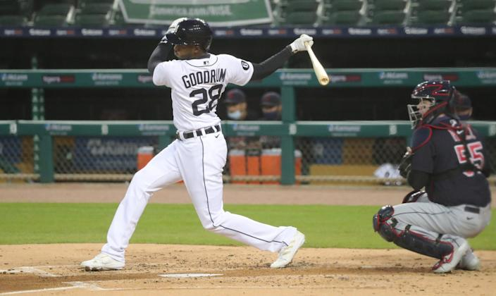 Tigers second baseman Niko Goodrum bats against Indians pitcher Zach Plesac at Comerica Park on Friday, Sept. 18, 2020.