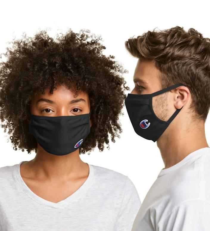 "This athletic face mask is made with cotton and moisture-wicking cooling fabrics. <a href=""https://fave.co/3k8euwd"" rel=""nofollow noopener"" target=""_blank"" data-ylk=""slk:Find it for $10 at Champion."" class=""link rapid-noclick-resp"">Find it for $10 at Champion.</a>"