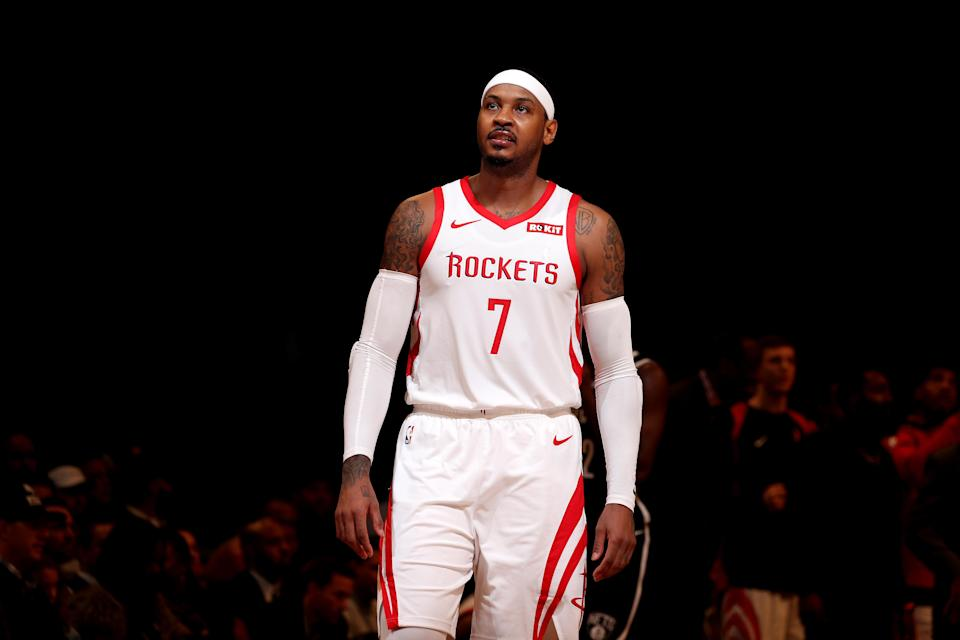"""Tracy McGrady said on Tuesday that he thinks <a class=""""link rapid-noclick-resp"""" href=""""/nba/players/3706/"""" data-ylk=""""slk:Carmelo Anthony"""">Carmelo Anthony</a> should simply retire instead of trying to find another team to play for this season. (Nathaniel S. Butler/NBAE via Getty Images)"""