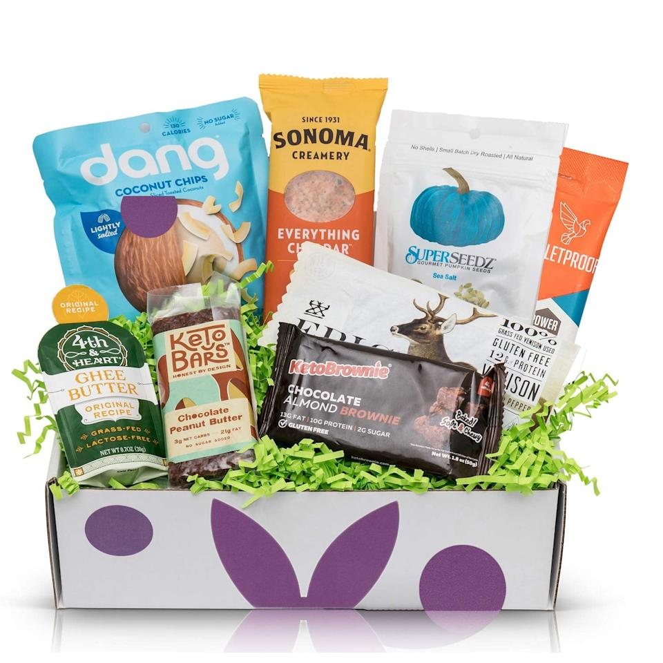 "<p>Get this <a href=""https://www.popsugar.com/buy/KETO-Diet-Snacks-Starter-Box-508316?p_name=KETO%20Diet%20Snacks%20Starter%20Box&retailer=amazon.com&pid=508316&price=25&evar1=fit%3Aus&evar9=45413210&evar98=https%3A%2F%2Fwww.popsugar.com%2Fphoto-gallery%2F45413210%2Fimage%2F46823506%2FKETO-Diet-Snacks-Starter-Box&list1=shopping%2Cgifts%2Camazon%2Choliday%2Chealthy%20snacks%2Csnacks%2Cstocking%20stuffers%2Cgift%20guide%2Chealthy%20living%2Cfood%20shopping%2Cgifts%20for%20women%2Cgifts%20for%20men%2Cgifts%20under%20%24100%2Cgifts%20under%20%2450%2Cgifts%20under%20%2475%2Cketo%20diet&prop13=api&pdata=1"" rel=""nofollow"" data-shoppable-link=""1"" target=""_blank"" class=""ga-track"" data-ga-category=""Related"" data-ga-label=""https://www.amazon.com/KETO-Diet-Snacks-Starter-Box/dp/B07XC928FX/ref=sr_1_38?keywords=keto+gifts&amp;qid=1572374918&amp;sr=8-38"" data-ga-action=""In-Line Links"">KETO Diet Snacks Starter Box</a> ($25) for the friend who just started trying the diet.</p>"