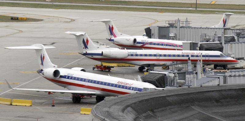 American Eagle planes sit at their gate at O'Hare International airport in Chicago