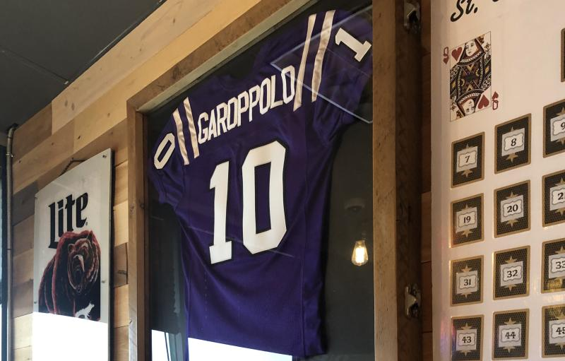 Mike Reppe hung Jimmy Garoppolo's jersey up in Rep's Place right when it opened. (Yahoo Sports)