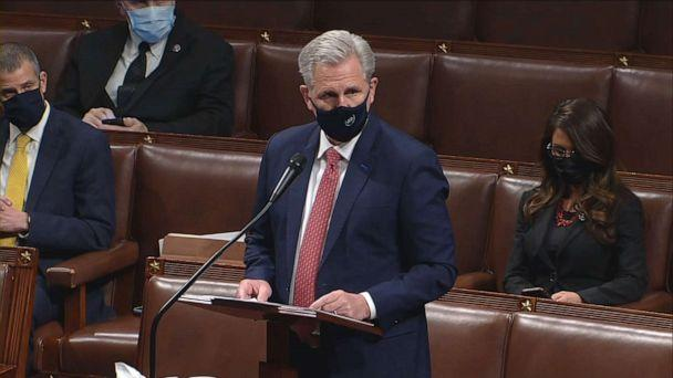 PHOTO: House Minority Leader Kevin McCarthy speaks during the impeachment debate on the House floor, Jan. 13, 2021, at the U.S. Capitol. (ABC News)