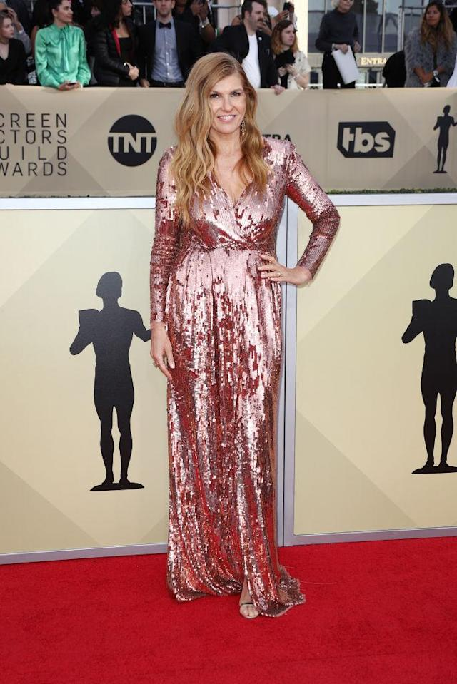 <p>Britton stood out in an all-sequin pink gown. (Photo: Getty Images) </p>