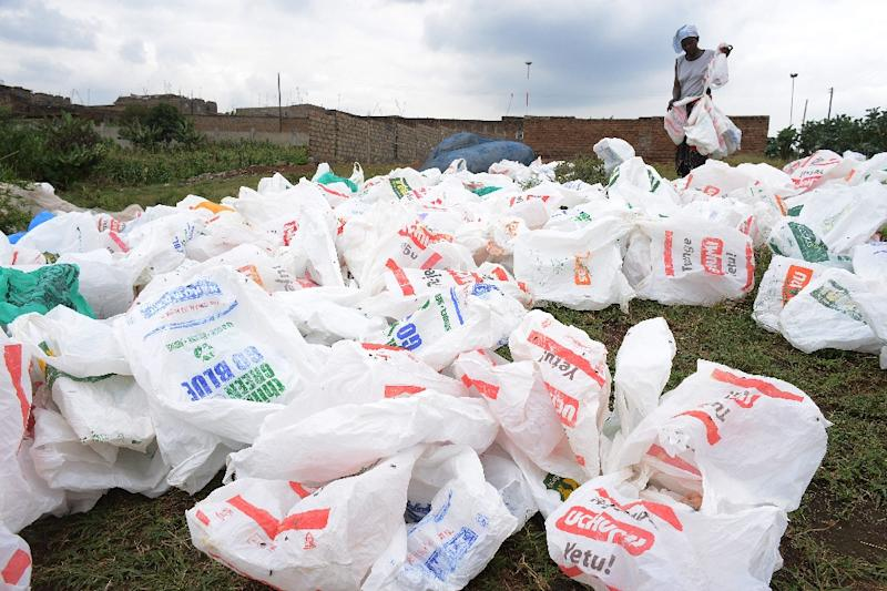 Banning plastic bags was one of 2.5 million anti-pollution pledges received by the UN Environment Programme (AFP Photo/SIMON MAINA)