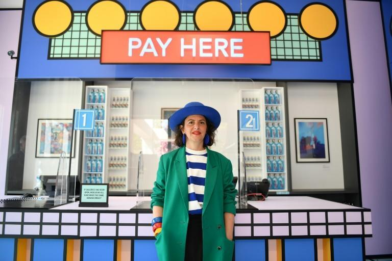 Lead artist Camille Walala embodied the brightness of the reworked shop, sporting large blue earrings, colourful clothing and thick yellow, red and blue bangles