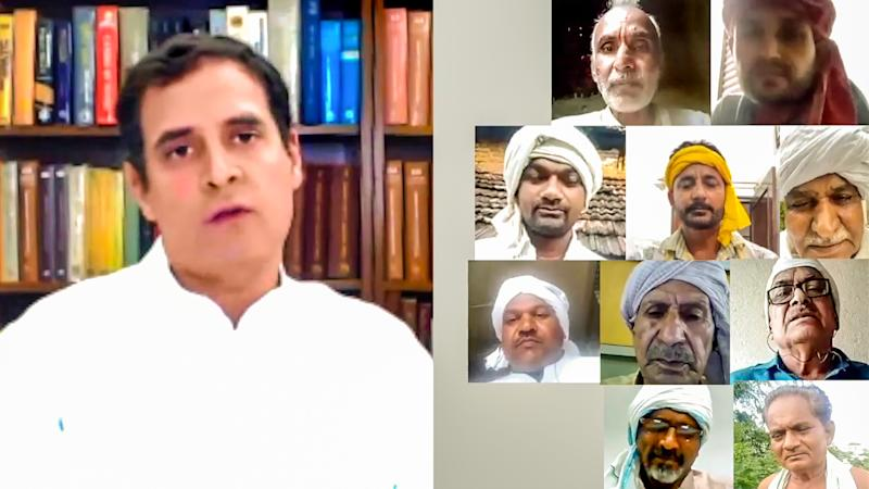 **EDS: SCREENSHOT FROM A LIVESTREAM ON TUESDAY, SEPT. 29, 2020** New Delhi: Congress leader Rahul Gandhi interacts with farmers as he discusses the three agricultural reform bills passed in the recently concluded Monsoon Session of Parliament, via video conferencing, in New Delhi. (PTI Photo)(PTI29-09-2020_000035B)