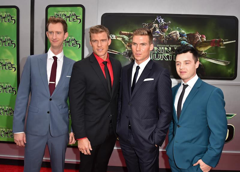 "WESTWOOD, CA - AUGUST 03: (L-R) Actors Jeremy Howard, Alan Ritchson, Pete Ploszek and Noel Fisher attend the premiere of Paramount Pictures' ""Teenage Mutant Ninja Turtles"" at Regency Village Theater on August 3, 2014 in Westwood, California. (Photo by Kevin Winter/Getty Images for Paramount Pictures)"