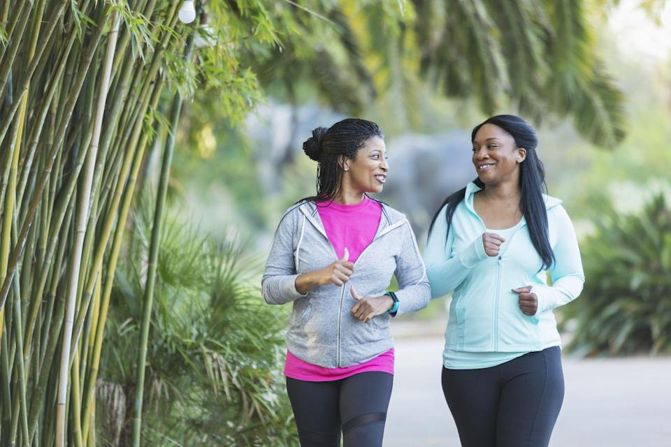 """<p>Yes, you read that right. Simply <a href=""""https://www.prevention.com/fitness/a20485587/benefits-from-walking-every-day/"""" rel=""""nofollow noopener"""" target=""""_blank"""" data-ylk=""""slk:walking"""" class=""""link rapid-noclick-resp"""">walking</a> can go a long way toward helping you shed belly fat, says <a href=""""https://www.sahmuragonzalez.com/"""" rel=""""nofollow noopener"""" target=""""_blank"""" data-ylk=""""slk:Sahmura Gonzalez"""" class=""""link rapid-noclick-resp"""">Sahmura Gonzalez</a>, a personal trainer based in New York City. </p><p>""""It seems so simple, but 45 to 60 minutes of brisk walking every day can do wonders for your metabolism,"""" says Gonzalez. """"Plus, it ensures that you don't over-train, which can lead to an over-production of cortisol—a stress hormone that's been shown to contribute to belly fat."""" </p><p>If your <a href=""""https://www.prevention.com/fitness/14-walking-workouts-to-burn-fat-and-boost-energy"""" rel=""""nofollow noopener"""" target=""""_blank"""" data-ylk=""""slk:walking workout"""" class=""""link rapid-noclick-resp"""">walking workout</a> helps you unwind after a stressful day or work through emotions that might otherwise stress you out, there's a chance it'll help you lower cortisol levels, which in turn can keep belly fat in check, says Gonzalez. And brisk walking is an effective way to drop pounds—including the belly fat that's hiding your abdominal muscles. """"One hour of rapid walking a day can lead to one pound of fat loss a week,"""" says Gonzalez.</p>"""