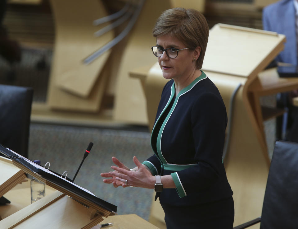 EDINBURGH, SCOTLAND - APRIL 21: Nicola Sturgeon MSP First Minister of Scotland during a special coronavirus Covid-19 social distancing First Ministers Questions at the Scottish Parliament Holyrood on April 21, 2020 in Edinburgh, United Kingdom. The British government has extended the lockdown restrictions first introduced on March 23 that are meant to slow the spread of COVID-19. (Photo by Fraser Bremner - Pool/Getty Images)