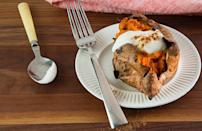 """<p>This recipe for twice-baked sweet potatoes is reminiscent of an <a href=""""https://www.thedailymeal.com/most-iconic-pie-every-state-gallery?referrer=yahoo&category=beauty_food&include_utm=1&utm_medium=referral&utm_source=yahoo&utm_campaign=feed"""" rel=""""nofollow noopener"""" target=""""_blank"""" data-ylk=""""slk:iconic dessert"""" class=""""link rapid-noclick-resp"""">iconic dessert</a>. Pumpkin pie spice, Greek yogurt and brown sugar help to create a side dish that satisfies your sweet tooth.</p> <p><a href=""""https://www.thedailymeal.com/best-recipes/twice-baked-pumpkin-pie-sweet-potatoes-recipe?referrer=yahoo&category=beauty_food&include_utm=1&utm_medium=referral&utm_source=yahoo&utm_campaign=feed"""" rel=""""nofollow noopener"""" target=""""_blank"""" data-ylk=""""slk:For the Twice-Baked Pumpkin Pie Sweet Potatoes recipe, click here."""" class=""""link rapid-noclick-resp"""">For the Twice-Baked Pumpkin Pie Sweet Potatoes recipe, click here.</a></p>"""