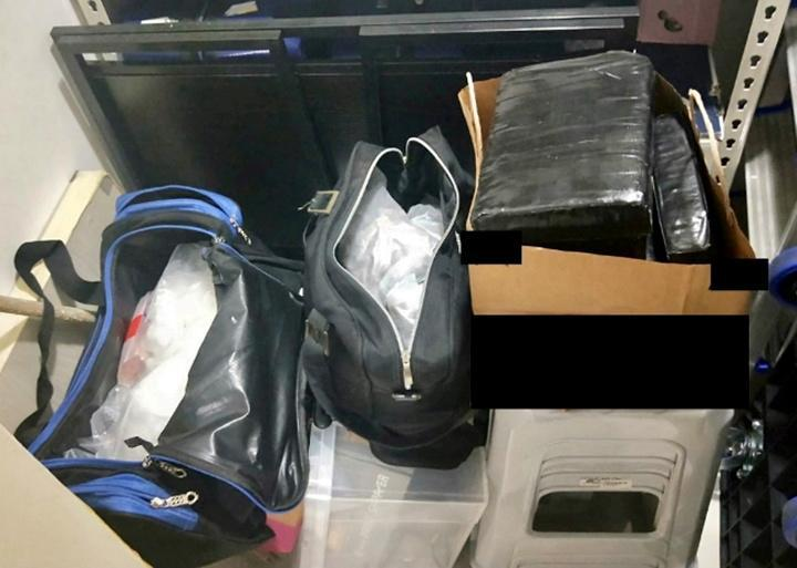 Illicit drugs are seized from a storeroom in a residential unit in the vicinity of McNair Road, Singapore in a CNB operation.