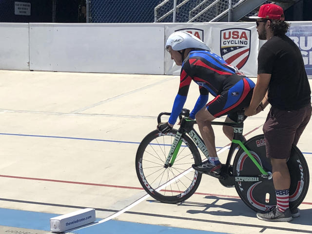In this photo taken on July 10, 2018, Carl Grove, a 90-year-old record-setting cyclist, races at the USA Cycling Masters Track Nationals in Breinigsville, PA. The U.S. Anti-Doping Agency informed Grove that traces of trenbolone, an anabolic steroid used by U.S. cattle farmers to bulk up livestock, were detected in a urine sample he gave at the U.S. Masters Track National Championships in Trexlertown, PA., last July, where the fields oldest competitor again added to his collection of titles, setting times faster than men in their eighties, seventies and even sixties. (Kathy Watts via AP)