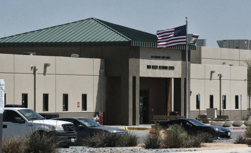 FILE - This April 20, 2019, photo shows the Adelanto Detention Center in Adelanto, Calif., a desert community northeast of Los Angeles. The Homeland Security Department's internal watchdog says rotting food, moldy and dilapidated bathrooms and agency practices at immigration detention facilities may violate detainees' rights. In the Adelanto detention facility, inspectors found nooses in detainee cells, the segregation of certain detainees in an overly restrictive way and inadequate medical care, the report said. (AP Photo/Richard Vogel)