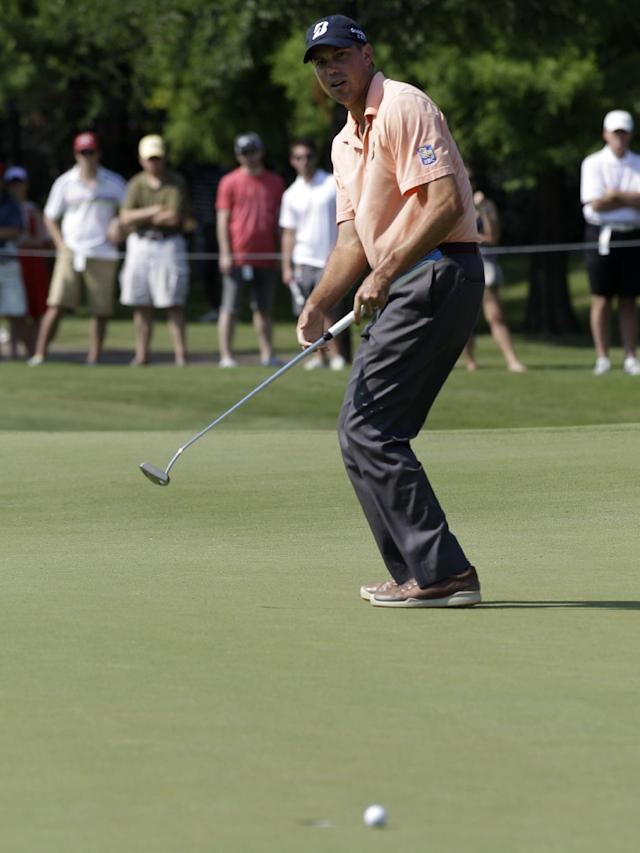 Matt Kuchar reacts to leaving a putt short for birdie on the number three green during the second round of the Byron Nelson Championship golf tournament Friday, May 18, 2012, in Irving, Texas. (AP Photo/Tony Gutierrez)