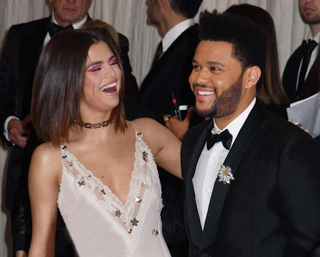 "<p>It was during their red carpet debut as a couple that we first realized just how much the Weeknd is into the ""Bad Liar"" singer. Abel was smiling, carefree, and unafraid to show affection toward his lady love while walking the red carpet at the 2017 Met Gala. The musician gave off a much more relaxed vibe than he did when he attended the <a href=""https://www.yahoo.com/celebrity/selena-gomez-weeknd-make-cuddly-red-carpet-debut-met-gala-004414241.html"" data-ylk=""slk:same event with Bella Hadid the year before"" class=""link rapid-noclick-resp"">same event with Bella Hadid the year before</a>. (Photo: Janet Mayer/Splash News) </p>"